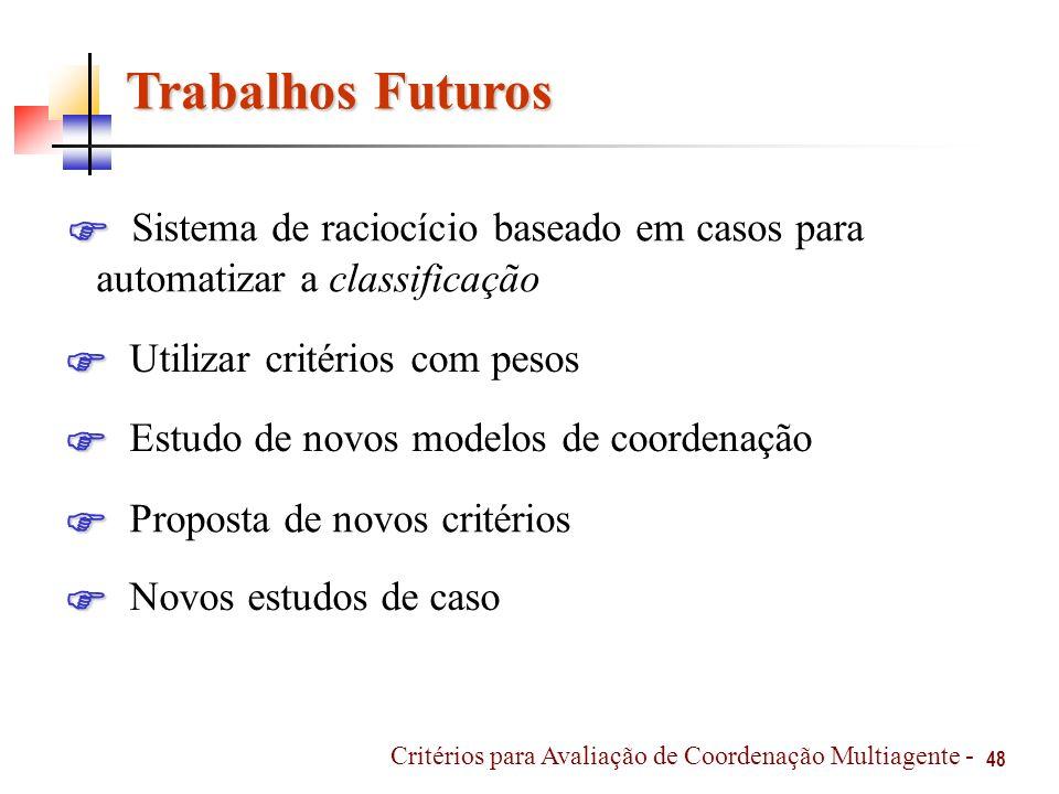 Trabalhos Futuros 48 Sistema de raciocício baseado em casos para automatizar a classificação Critérios para Avaliação de Coordenação Multiagente - Uti