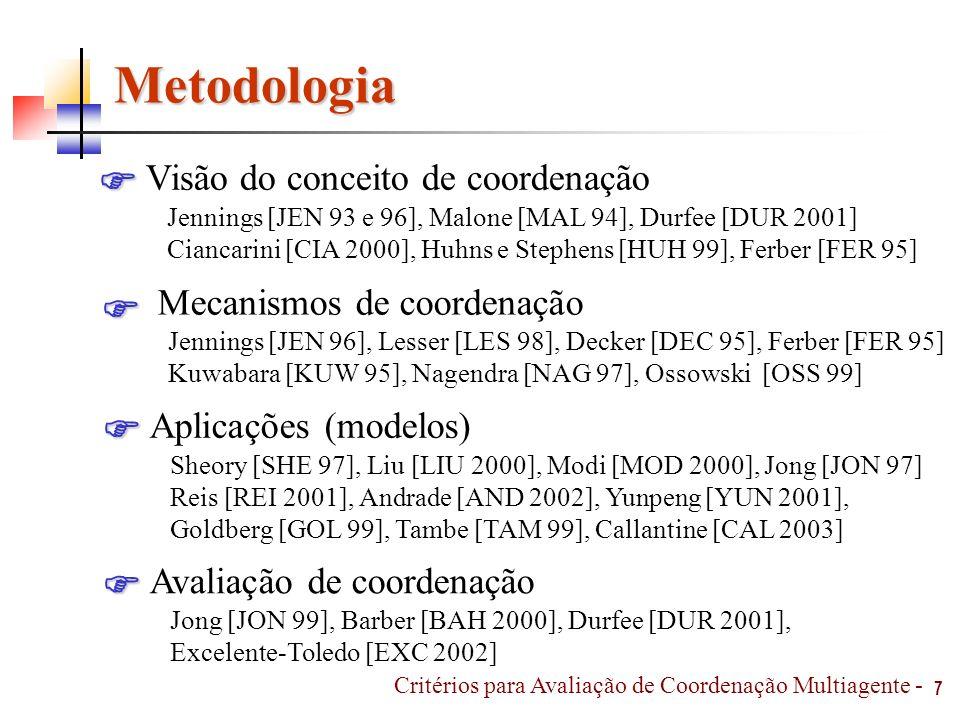 Metodologia 7 Visão do conceito de coordenação Jennings [JEN 93 e 96], Malone [MAL 94], Durfee [DUR 2001] Ciancarini [CIA 2000], Huhns e Stephens [HUH