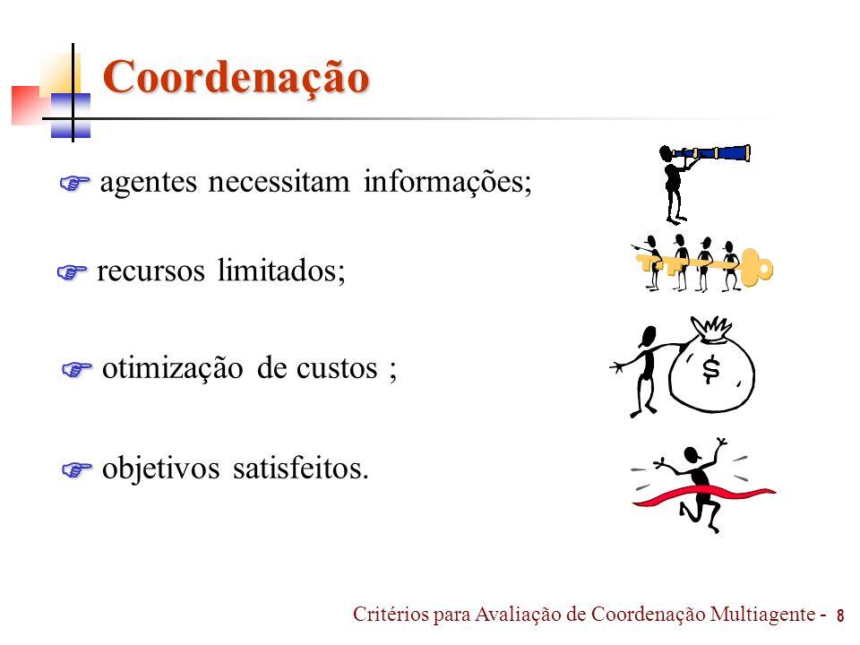 8 Coordenação agentes necessitam informações; recursos limitados; otimização de custos ; objetivos satisfeitos. Critérios para Avaliação de Coordenaçã