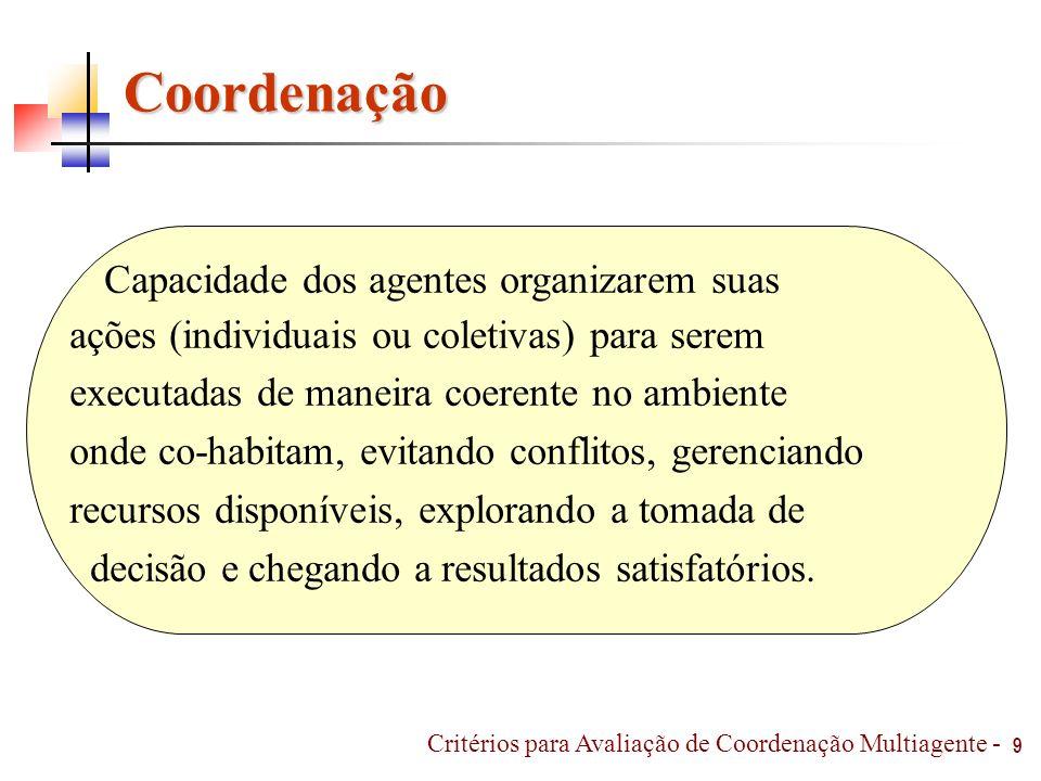 10 Mecanismos de Coordenação Organização, Planejamento e Negociação [Ossowski, 1999] Organização, Contrato, Planejamento e Negociação [Jennings e Nwana, 1996] Sincronização, Planejamento, Reatividade e Regulamentação [Ferber, 1995] Critérios para Avaliação de Coordenação Multiagente -