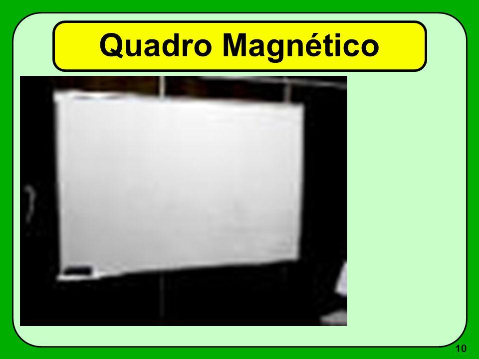 9 Quadro Magnético Vantagens –desenvolvimento progressivo durante a aula/palestra –permite correções –colorido ou preto-e- branco –movimento Desvantag