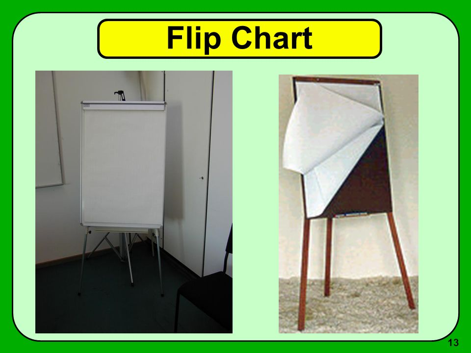 12 Flip Chart Vantagens –fácil de preparar antes ou durante a aula –desenvolvimento progressivo durante a aula –seqüência flexível, pode folhear para