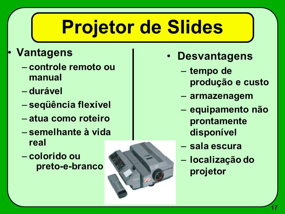 16 2 - Projetores (mídia em papel ou acetato) –Projetor de slides –Filme –Episcópio ou Epidiascópio –Retroprojetor