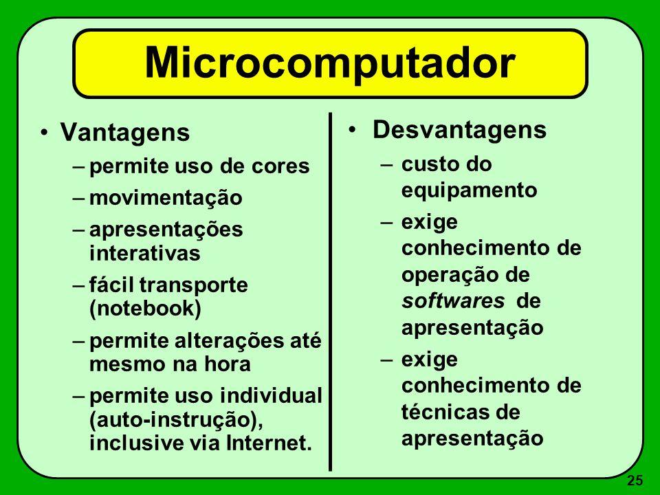 24 3 - Projetores (mídia via microcomputador) –Microcomputador –Data Show –Canhão de projeção