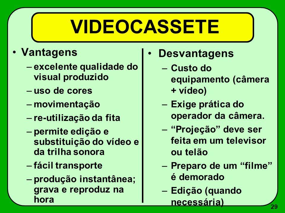 28 4 - Equipamentos de vídeo –Videocassete –DVD