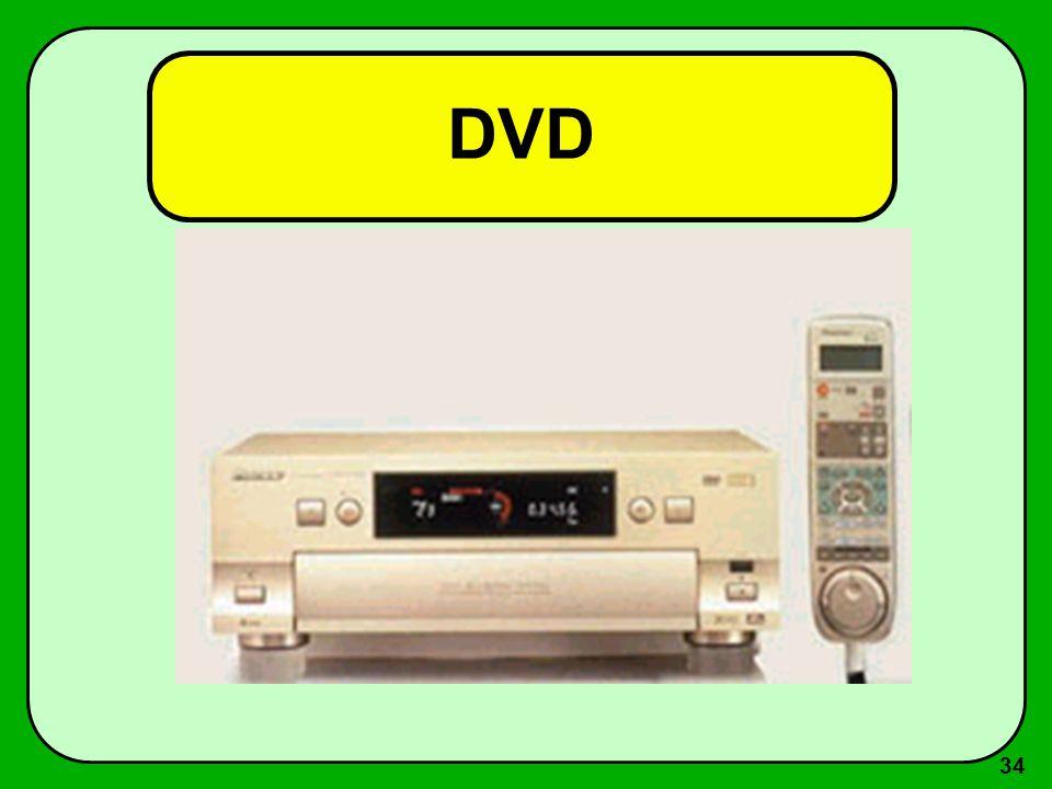 33 DVD O primeiro aparelho de DVD foi lançado no Brasil em 24/08 de 1997. Como no CD, a gravação e a reprodução do DVD é feita através de raio laser e
