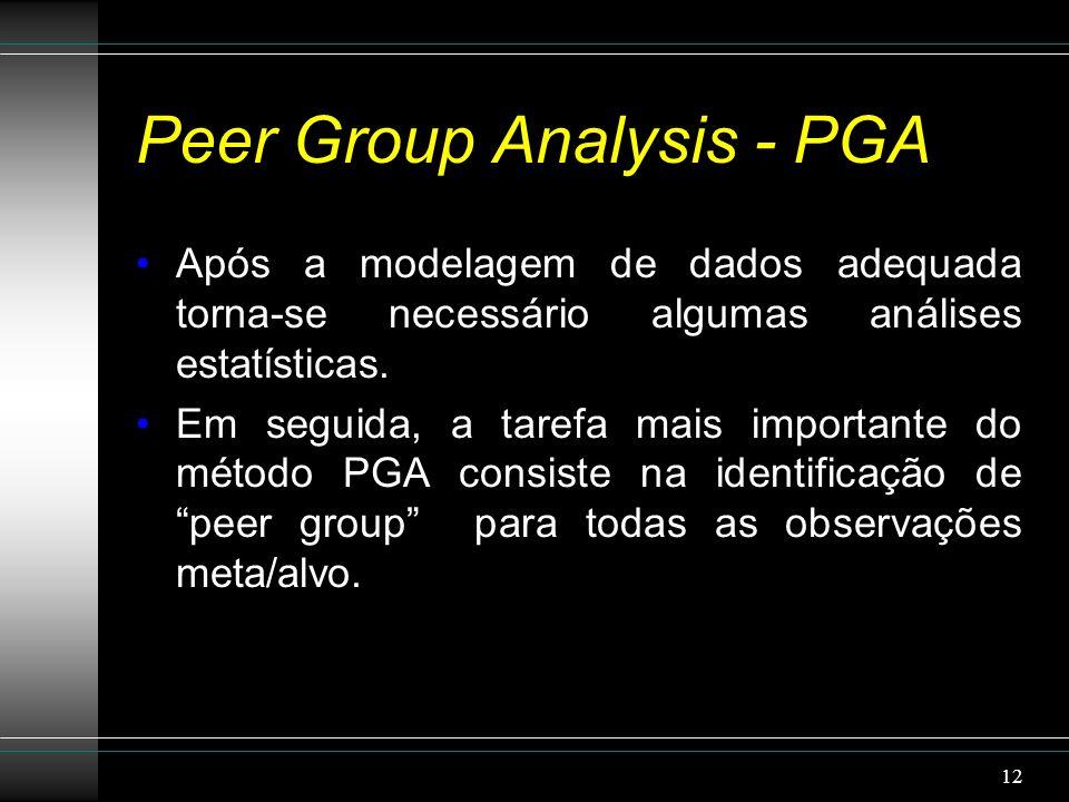 Peer Group Analysis - PGA Após a modelagem de dados adequada torna-se necessário algumas análises estatísticas.