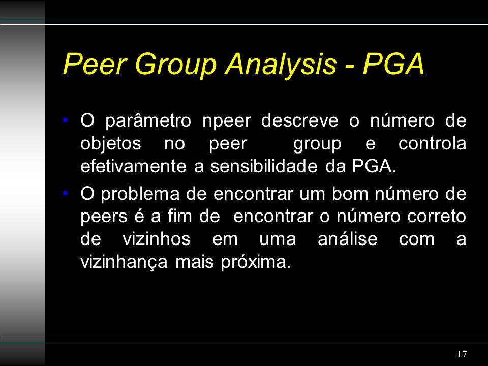 Peer Group Analysis - PGA O parâmetro npeer descreve o número de objetos no peer group e controla efetivamente a sensibilidade da PGA.