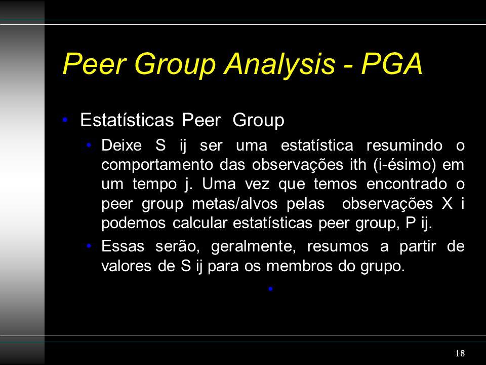 Peer Group Analysis - PGA Estatísticas Peer Group Deixe S ij ser uma estatística resumindo o comportamento das observações ith (i-ésimo) em um tempo j.