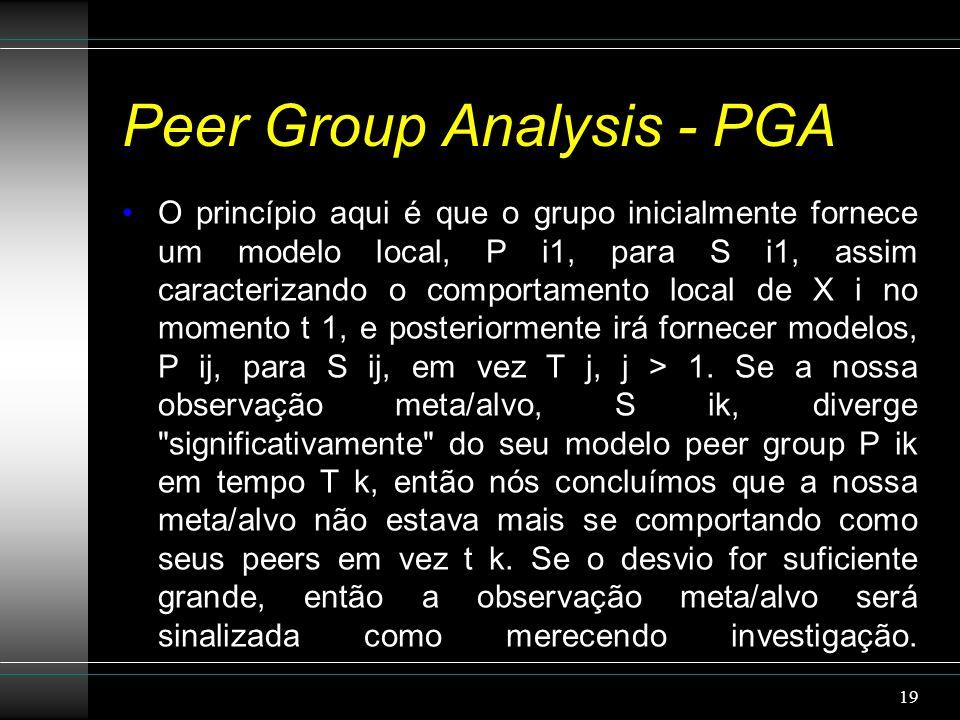 Peer Group Analysis - PGA O princípio aqui é que o grupo inicialmente fornece um modelo local, P i1, para S i1, assim caracterizando o comportamento local de X i no momento t 1, e posteriormente irá fornecer modelos, P ij, para S ij, em vez T j, j > 1.
