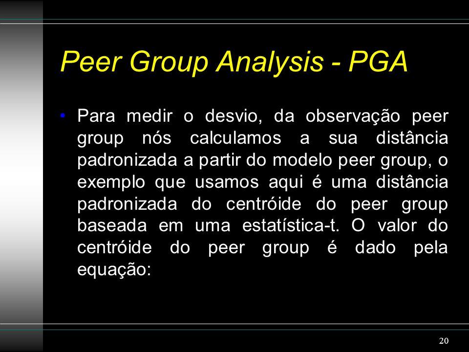 Peer Group Analysis - PGA Para medir o desvio, da observação peer group nós calculamos a sua distância padronizada a partir do modelo peer group, o exemplo que usamos aqui é uma distância padronizada do centróide do peer group baseada em uma estatística-t.