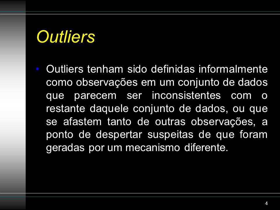 Outliers A identificação de outliers pode levar à descoberta de conhecimentos úteis e tem uma quantidade de aplicações práticas em áreas tais como: -a detecção de fraude com cartão de crédito; - análise de desempenho de atletas; - análise de irregularidades em votações; - previsão meteorológica (mau tempo), etc.