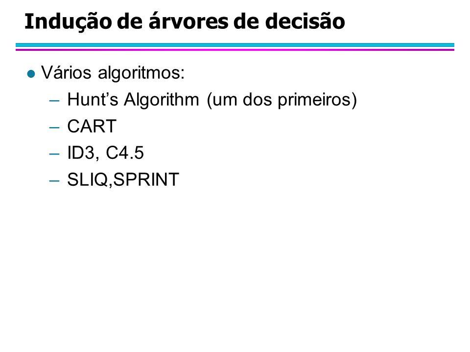 Indução de árvores de decisão l Vários algoritmos: –Hunts Algorithm (um dos primeiros) –CART –ID3, C4.5 –SLIQ,SPRINT