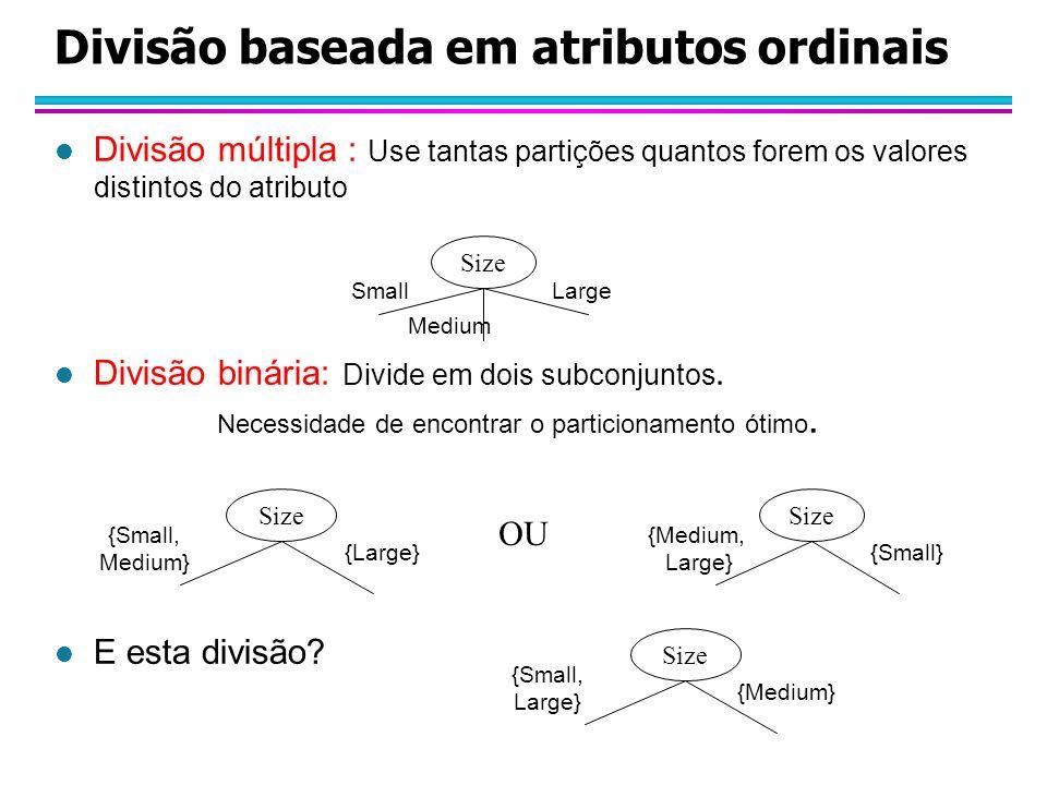 l Divisão múltipla : Use tantas partições quantos forem os valores distintos do atributo l Divisão binária: Divide em dois subconjuntos.