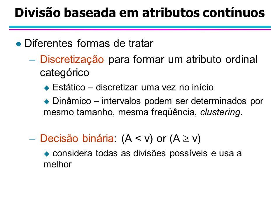 Divisão baseada em atributos contínuos l Diferentes formas de tratar –Discretização para formar um atributo ordinal categórico Estático – discretizar uma vez no início Dinâmico – intervalos podem ser determinados por mesmo tamanho, mesma freqüência, clustering.