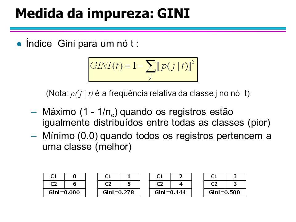 Medida da impureza: GINI l Índice Gini para um nó t : (Nota: p( j | t) é a freqüência relativa da classe j no nó t).