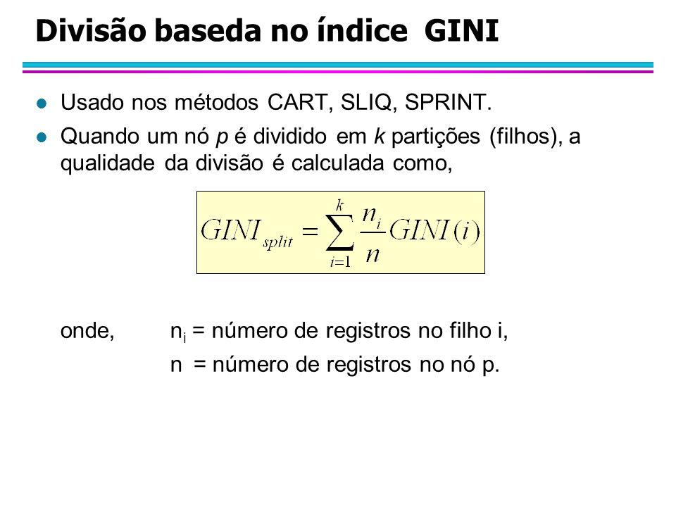 Divisão baseda no índice GINI l Usado nos métodos CART, SLIQ, SPRINT.
