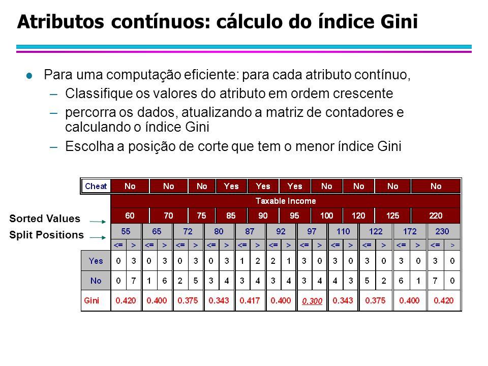 Atributos contínuos: cálculo do índice Gini l Para uma computação eficiente: para cada atributo contínuo, –Classifique os valores do atributo em ordem crescente –percorra os dados, atualizando a matriz de contadores e calculando o índice Gini –Escolha a posição de corte que tem o menor índice Gini Split Positions Sorted Values