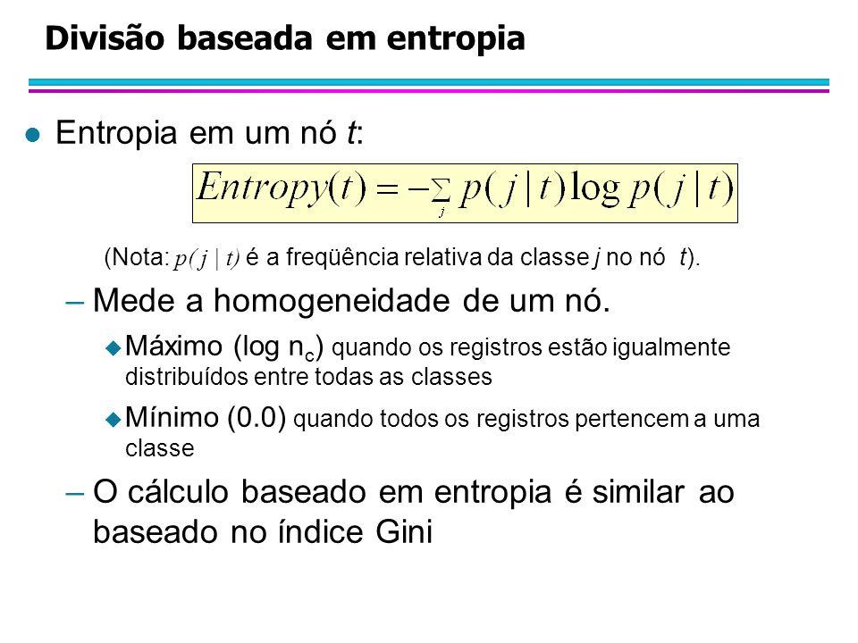 Divisão baseada em entropia l Entropia em um nó t: (Nota: p( j | t) é a freqüência relativa da classe j no nó t).