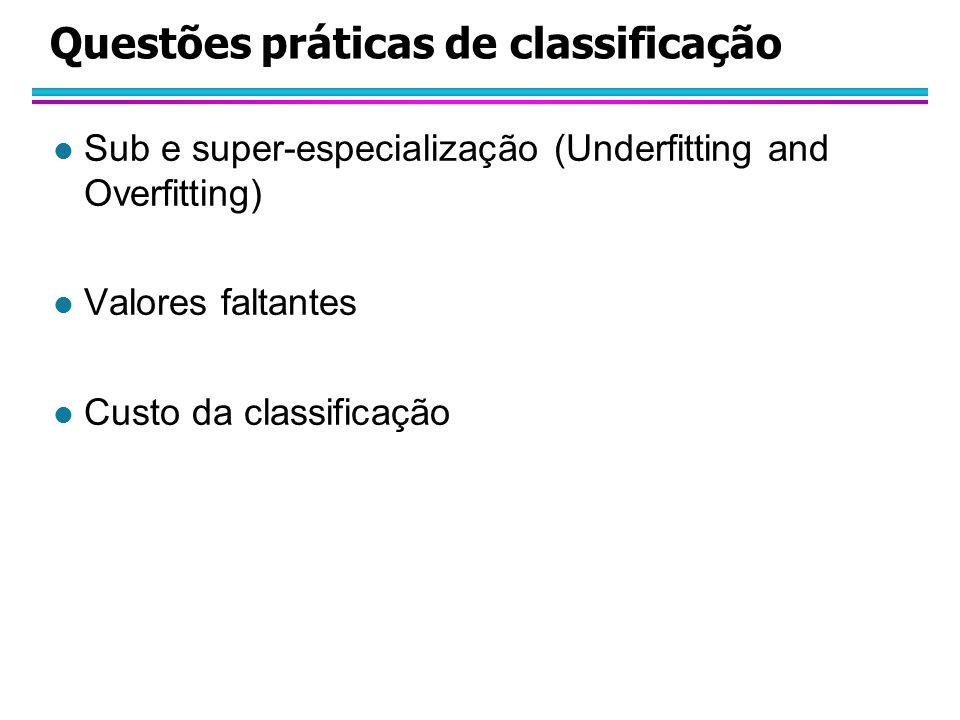 Questões práticas de classificação l Sub e super-especialização (Underfitting and Overfitting) l Valores faltantes l Custo da classificação