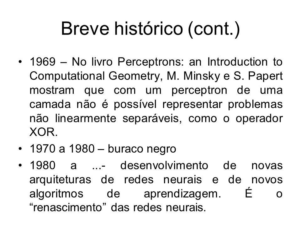 Breve histórico (cont.) 1969 – No livro Perceptrons: an Introduction to Computational Geometry, M. Minsky e S. Papert mostram que com um perceptron de