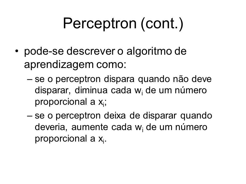 Perceptron (cont.) pode-se descrever o algoritmo de aprendizagem como: –se o perceptron dispara quando não deve disparar, diminua cada w i de um númer