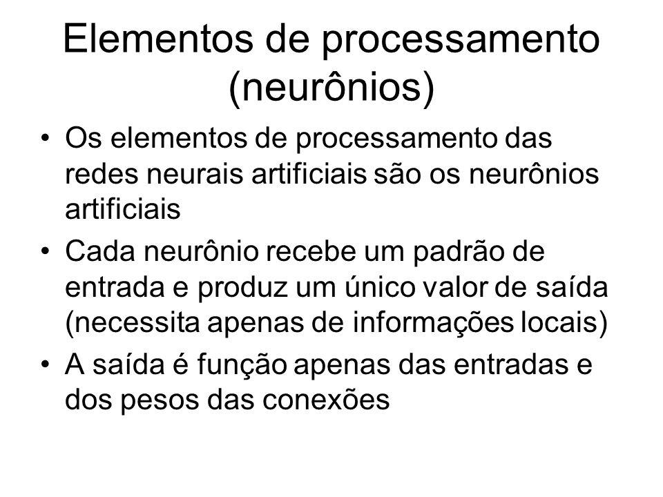 Elementos de processamento (neurônios) Os elementos de processamento das redes neurais artificiais são os neurônios artificiais Cada neurônio recebe u
