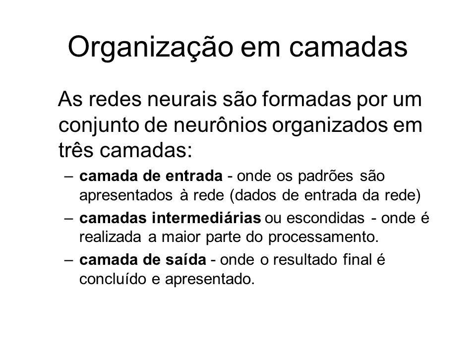 Organização em camadas As redes neurais são formadas por um conjunto de neurônios organizados em três camadas: –camada de entrada - onde os padrões sã