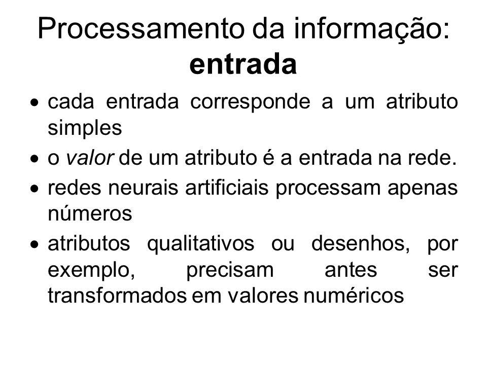 Processamento da informação: entrada cada entrada corresponde a um atributo simples o valor de um atributo é a entrada na rede. redes neurais artifici