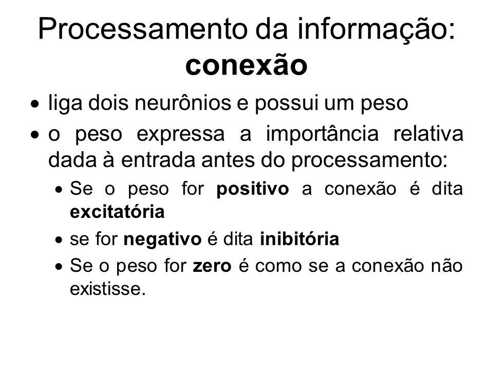 Processamento da informação: conexão liga dois neurônios e possui um peso o peso expressa a importância relativa dada à entrada antes do processamento