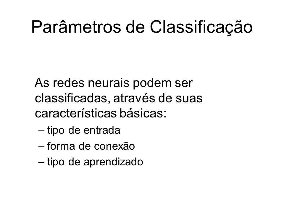Parâmetros de Classificação As redes neurais podem ser classificadas, através de suas características básicas: –tipo de entrada –forma de conexão –tip