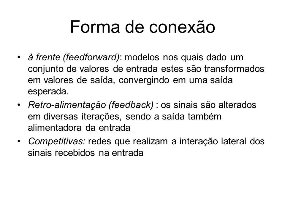 Forma de conexão à frente (feedforward): modelos nos quais dado um conjunto de valores de entrada estes são transformados em valores de saída, converg