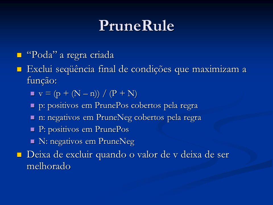 PruneRule Poda a regra criada Poda a regra criada Exclui seqüência final de condições que maximizam a função: Exclui seqüência final de condições que