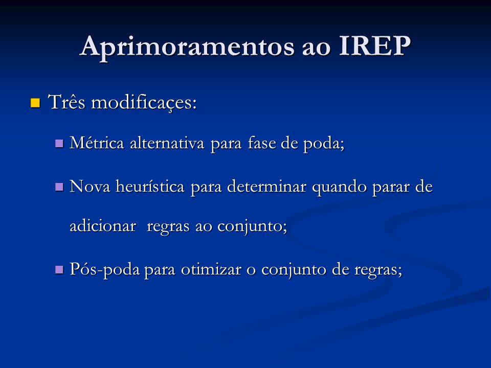 Aprimoramentos ao IREP Três modificaçes: Três modificaçes: Métrica alternativa para fase de poda; Métrica alternativa para fase de poda; Nova heurísti