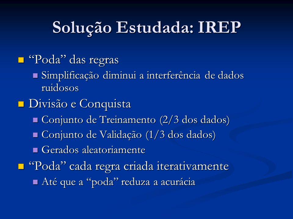 Solução Estudada: IREP Poda das regras Poda das regras Simplificação diminui a interferência de dados ruidosos Simplificação diminui a interferência d