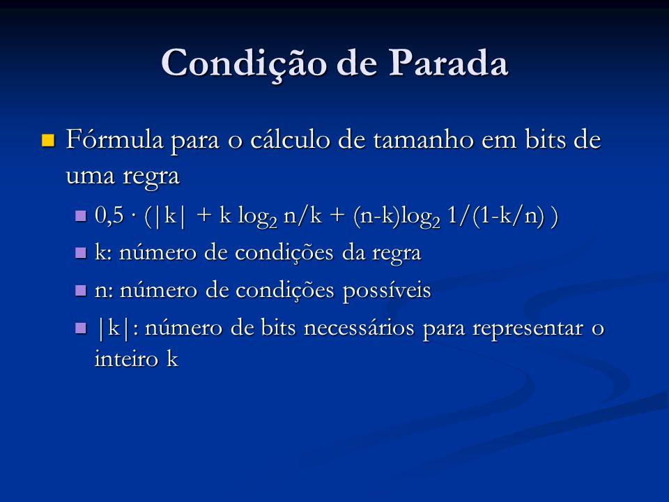 Condição de Parada Fórmula para o cálculo de tamanho em bits de uma regra Fórmula para o cálculo de tamanho em bits de uma regra 0,5 (|k| + k log 2 n/