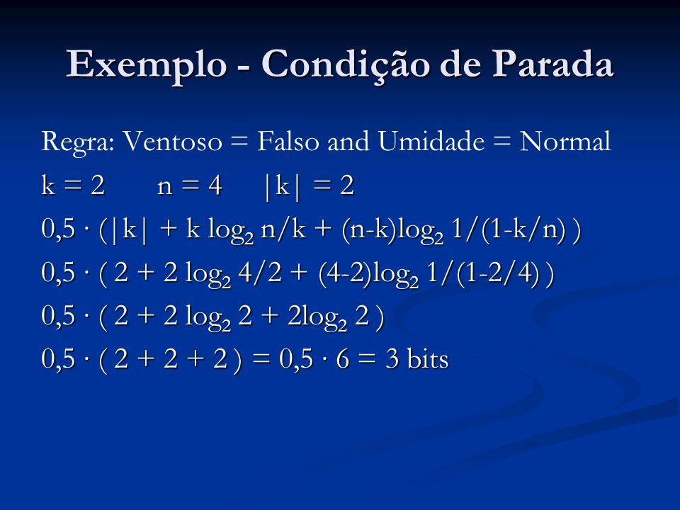 Exemplo - Condição de Parada Regra: Ventoso = Falso and Umidade = Normal k = 2 n = 4 |k| = 2 0,5 (|k| + k log 2 n/k + (n-k)log 2 1/(1-k/n) ) 0,5 ( 2 +