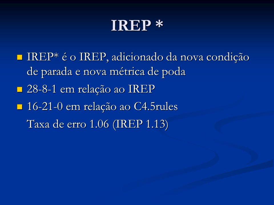 IREP * IREP* é o IREP, adicionado da nova condição de parada e nova métrica de poda IREP* é o IREP, adicionado da nova condição de parada e nova métri