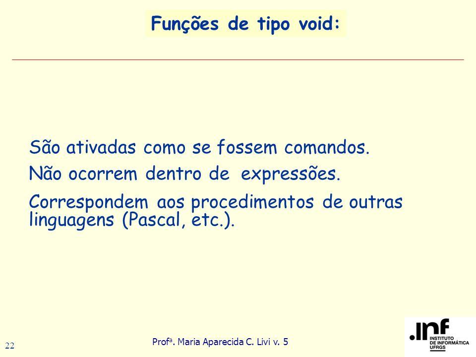 Prof a. Maria Aparecida C. Livi v. 5 22 Funções de tipo void: São ativadas como se fossem comandos. Não ocorrem dentro de expressões. Correspondem aos
