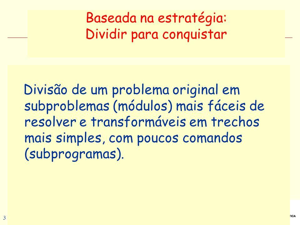 Prof a. Maria Aparecida C. Livi v. 5 3 Baseada na estratégia: Dividir para conquistar Divisão de um problema original em subproblemas (módulos) mais f