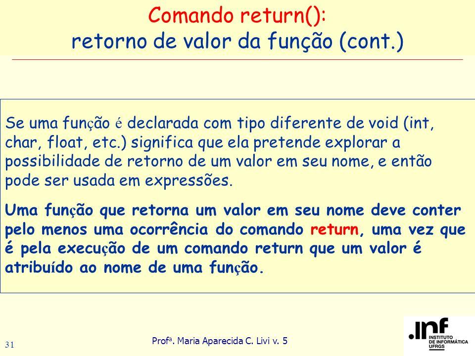 Prof a. Maria Aparecida C. Livi v. 5 31 Se uma fun ç ão é declarada com tipo diferente de void (int, char, float, etc.) significa que ela pretende exp