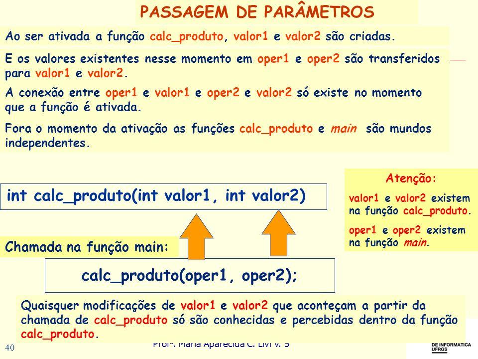 Prof a. Maria Aparecida C. Livi v. 5 40 PASSAGEM DE PARÂMETROS Ao ser ativada a função calc_produto, valor1 e valor2 são criadas. calc_produto(oper1,