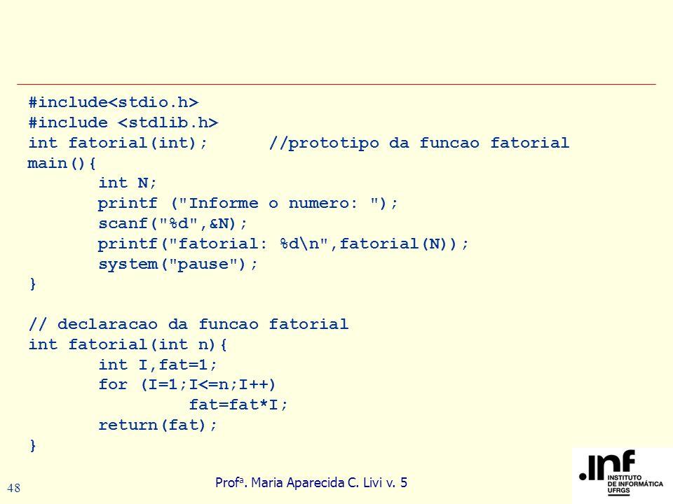 Prof a. Maria Aparecida C. Livi v. 5 48 #include int fatorial(int); //prototipo da funcao fatorial main(){ int N; printf (