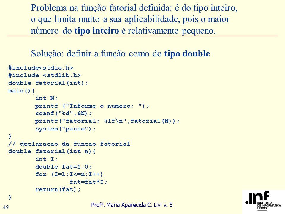 Prof a. Maria Aparecida C. Livi v. 5 49 Problema na função fatorial definida: é do tipo inteiro, o que limita muito a sua aplicabilidade, pois o maior