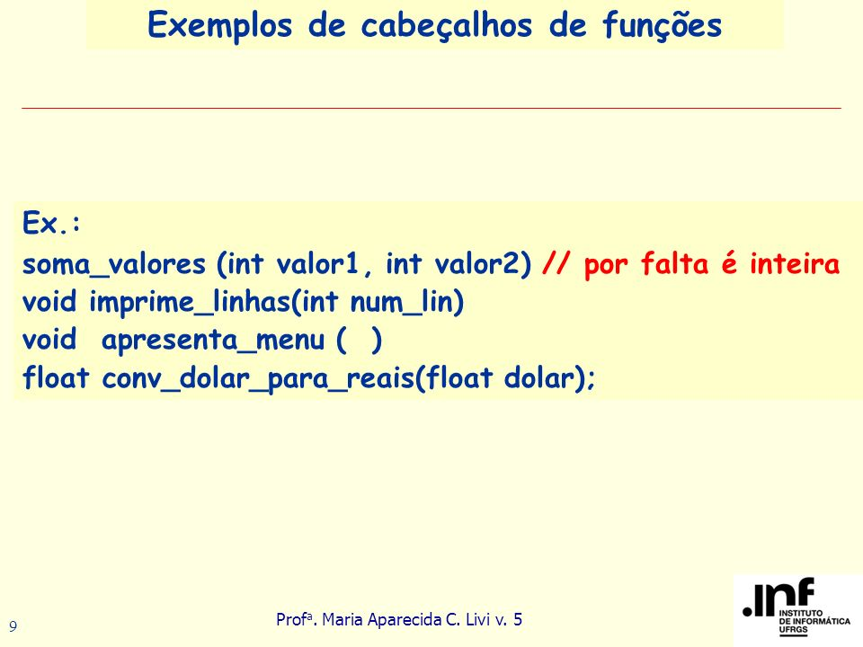 Prof a.Maria Aparecida C. Livi v. 5 20 int a =4, k=9;...