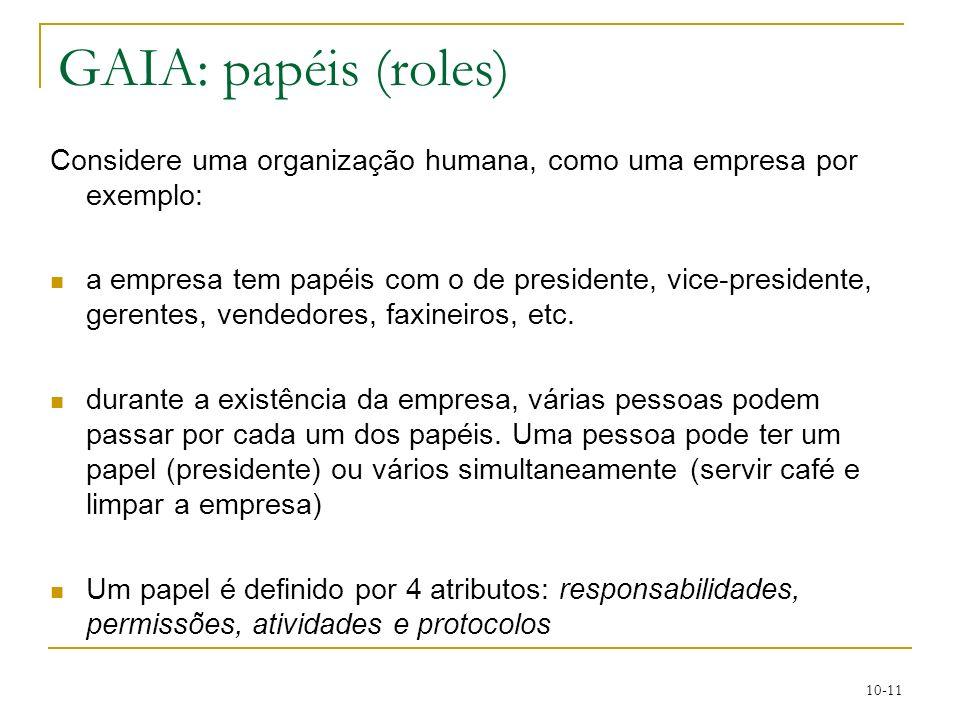10-11 GAIA: papéis (roles) Considere uma organização humana, como uma empresa por exemplo: a empresa tem papéis com o de presidente, vice-presidente,