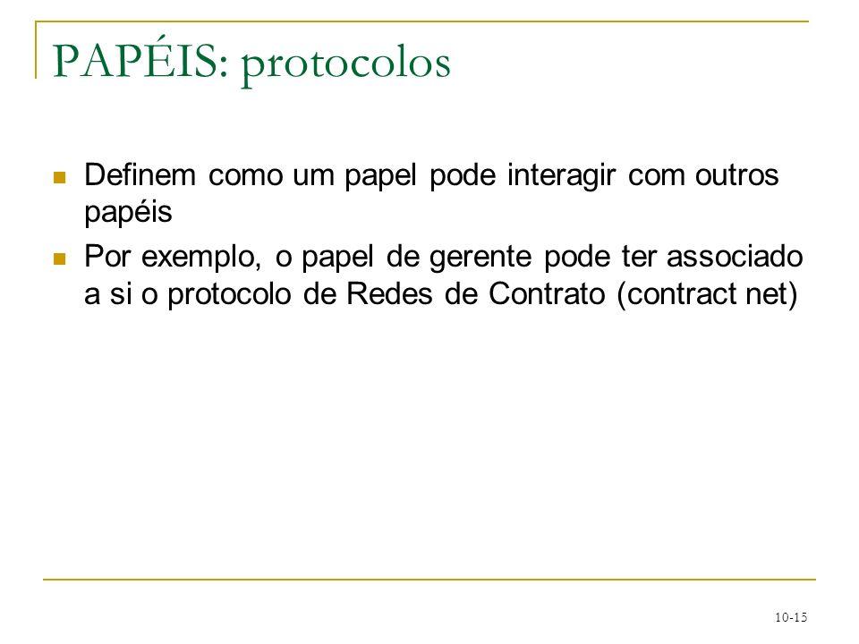 10-15 PAPÉIS: protocolos Definem como um papel pode interagir com outros papéis Por exemplo, o papel de gerente pode ter associado a si o protocolo de