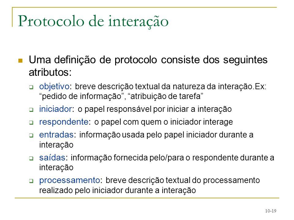 10-19 Protocolo de interação Uma definição de protocolo consiste dos seguintes atributos: objetivo: breve descrição textual da natureza da interação.E
