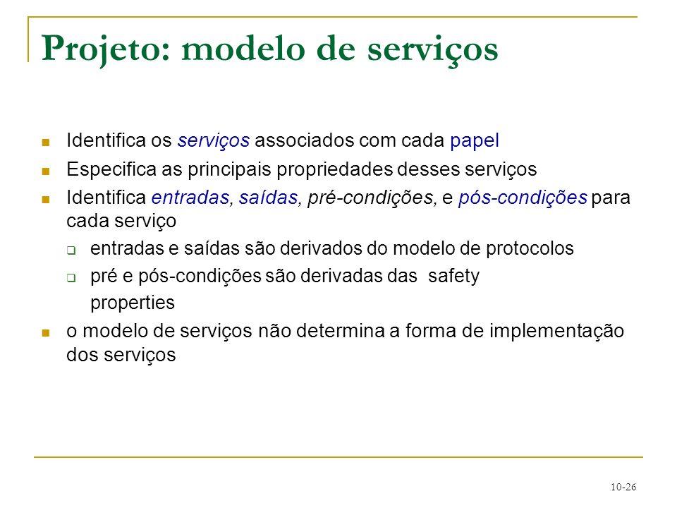 10-26 Projeto: modelo de serviços Identifica os serviços associados com cada papel Especifica as principais propriedades desses serviços Identifica en