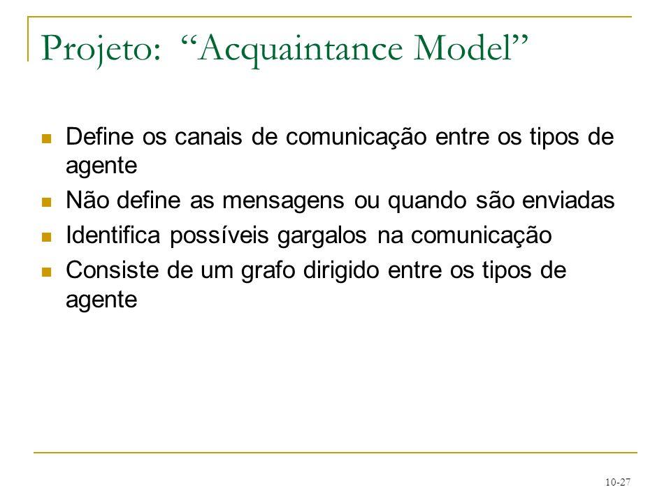 10-27 Projeto: Acquaintance Model Define os canais de comunicação entre os tipos de agente Não define as mensagens ou quando são enviadas Identifica p